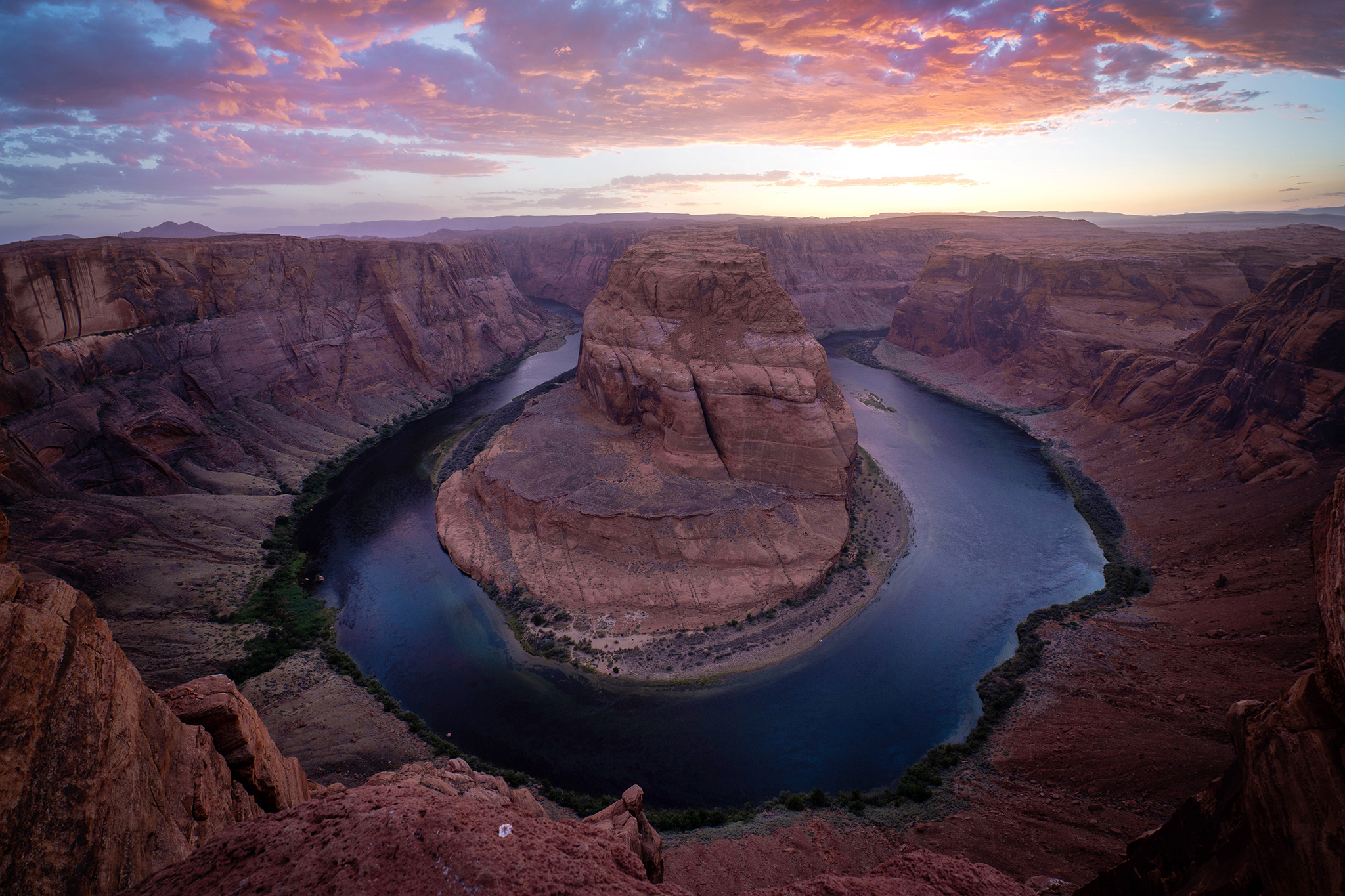 Sunset at Horseshoe Bend.