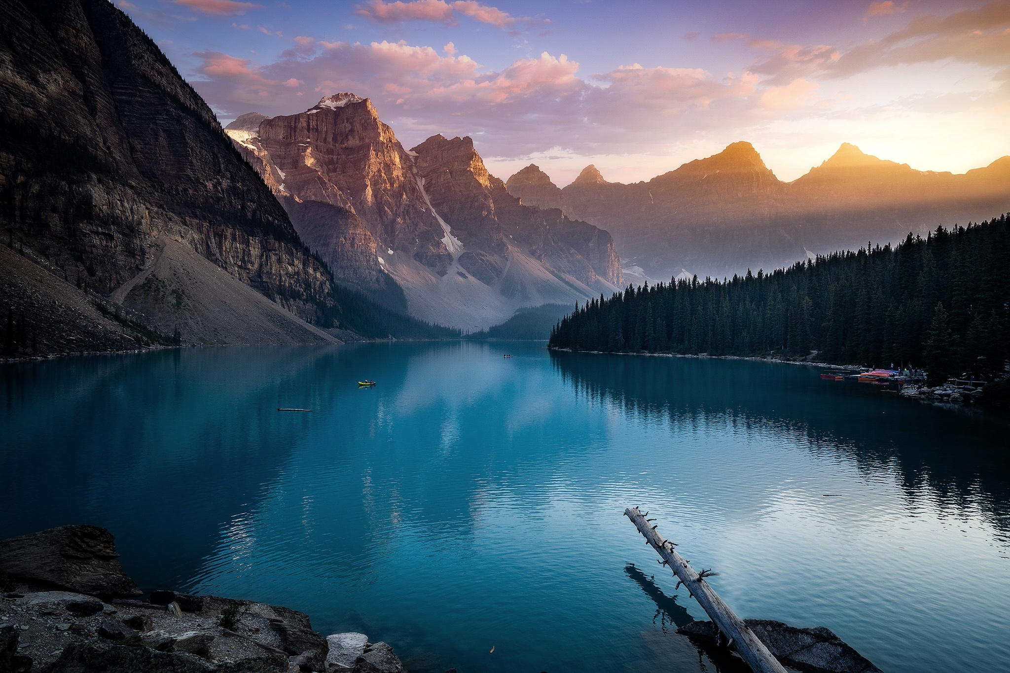 Sunset at Moraine Lake, Banff National Park.