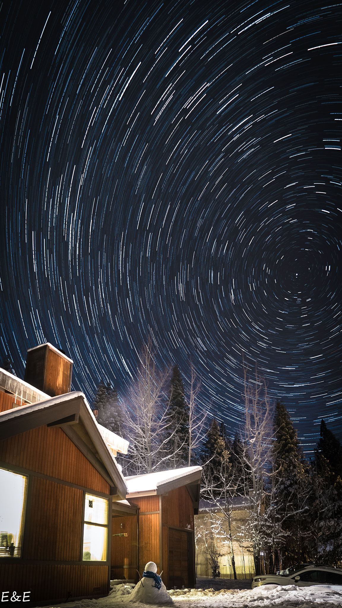 Startrail over Lake Tahoe area.