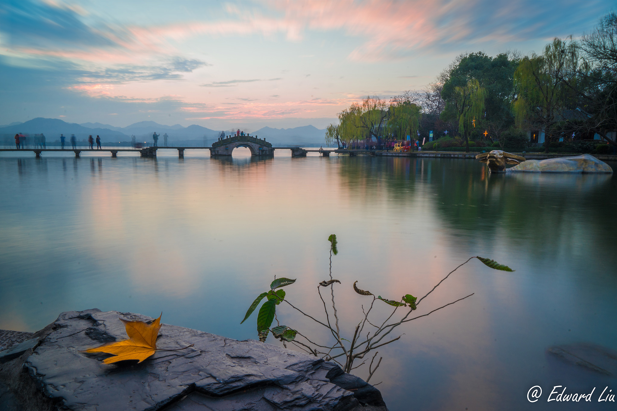 Sunset at West Lake, Hangzhou, China.